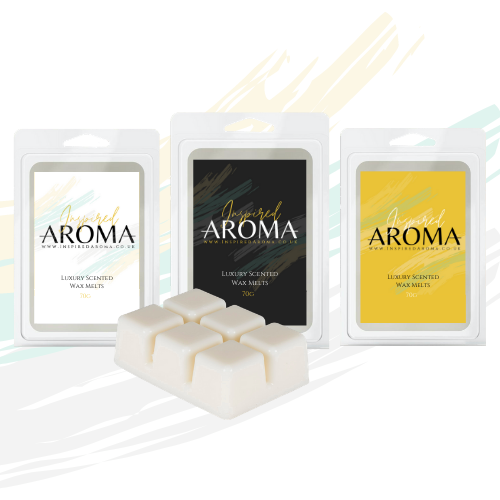Designer Inspired Aroma Wax Melts. Six cube clamshell container